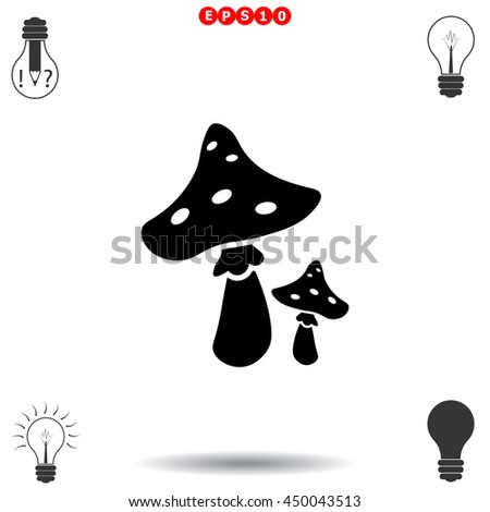 Mushroom icon. Black icon on white background. - stock vector