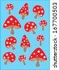 mushroom poster template vector/illustration / background/ greeting card - stock vector