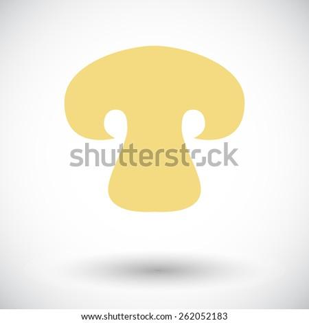 Mushroom. Single flat icon on white background. Vector illustration. - stock vector