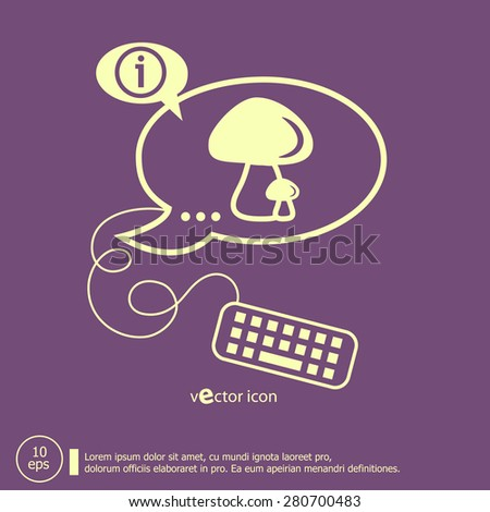 Mushrooms icon and keyboard design elements. Line icons for application development, web page coding and programming, creative process - stock vector