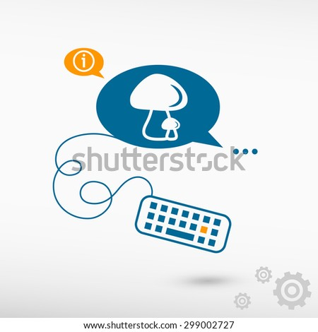 Mushrooms icon and keyboard on chat speech bubbles. Line icons for application and creative process - stock vector