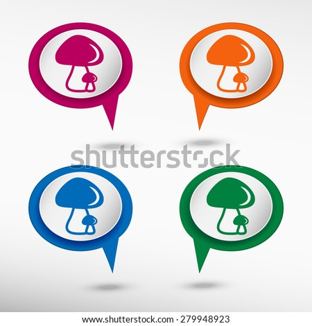 Mushrooms icon on colorful chat speech bubbles - stock vector