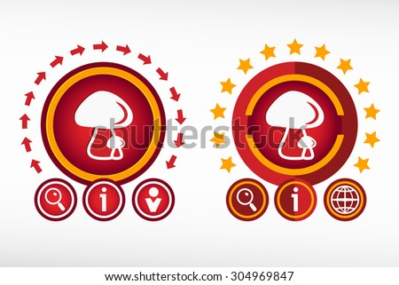 Mushrooms icon on creative background. Red design concept for banner, web, advertising, print - stock vector