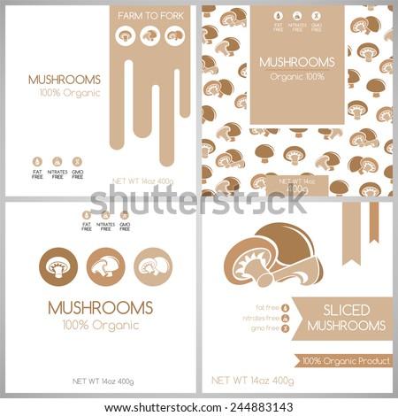 Mushrooms labels set. Collection of vegetables labels for pack design. - stock vector