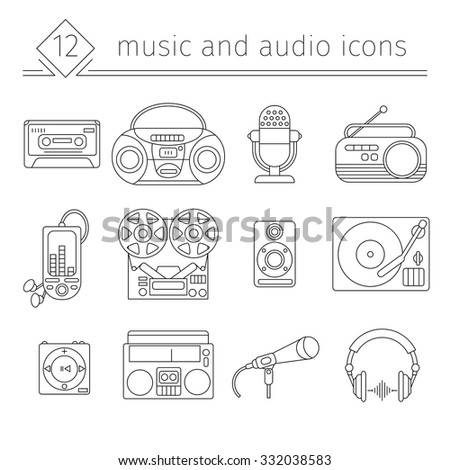Music and audio icons in a linear style, symbols of retro tape, cassette, turntable, records. - stock vector