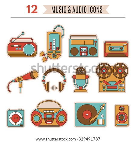 Music and audio icons ,symbols of retro tape, cassette,  turntable, records. - stock vector