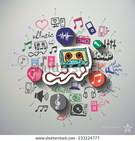 Music and entertainment collage with icons background. Vector illustration - stock vector