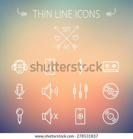 Music and entertainment thin line icon set for web and mobile. Set includes-loudspeaker, headphone, microphone retro, cassette tape, control volume, vinyl disc icons. Modern minimalistic flat design - stock vector