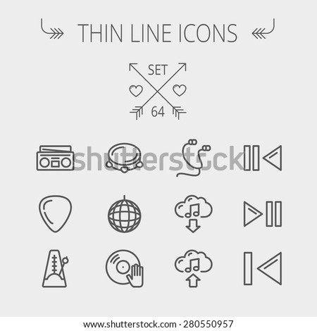 Music and entertainment thin line icon set for web and mobile. Set includes- metronome, guitar pick, upload and download, earphone, disco ball, cassette player, music button icons. Modern minimalistic - stock vector