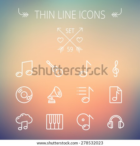 Music and entertainment thin line icon set for web and mobile. Set includes- musical notes, phonograph record, g- clef, headphone, gramophone, guitar, piano icons. Modern minimalistic flat design - stock vector