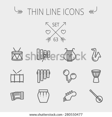 Music and entertainment thin line icon set for web and mobile. Set includes- xylophone, tuner, saxophone, banjo, maracas, organ, lyre icons. Modern minimalistic flat design. Vector dark grey icon on - stock vector