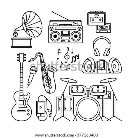 Music and music instruments thin line icons. Black contour music instruments like gramophone, player, drums, guitar and saxophone. Vector illustration - stock vector