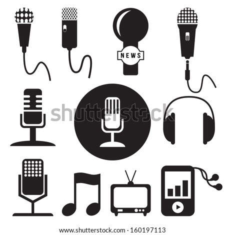 Music and recording studio icons set, vector format - stock vector