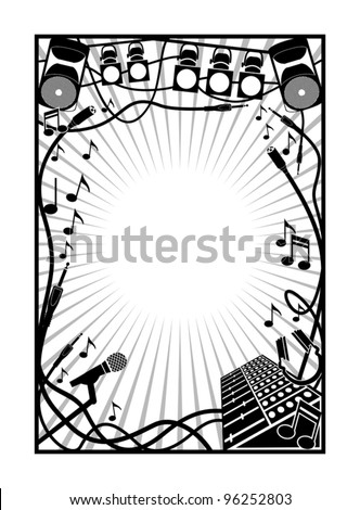 music and sound element inside a border. - stock vector