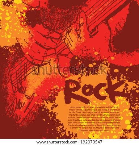 music background for cover. rock poster with guitar - stock vector