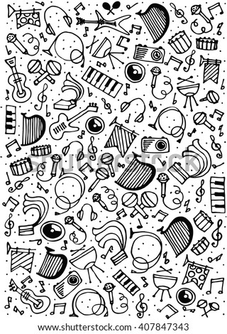 Music background in doodle style - stock vector