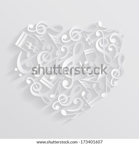 Valentine Hearts Music Notes On Staff | New Calendar Template Site