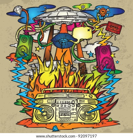 Music Background. Stylish grunge background on the music theme. The image consists of a UFO, a boom box, the flames, fire, explosion, loudspeakers. - stock vector