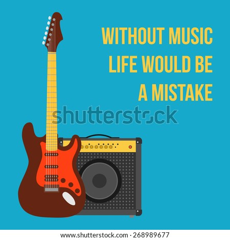 music background with electric guitar and amplifier. flat style vector illustration - stock vector