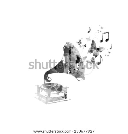 Music background with gramophone  - stock vector