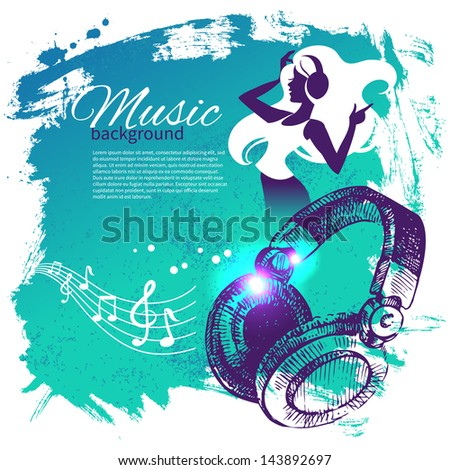 Music background with hand drawn illustration and dance girl silhouette. Splash blob retro design - stock vector