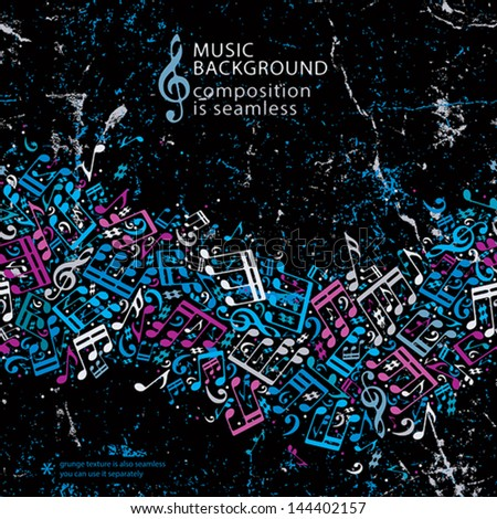 Music background with notes grunge texture and seamless horizontal composition, vector. - stock vector