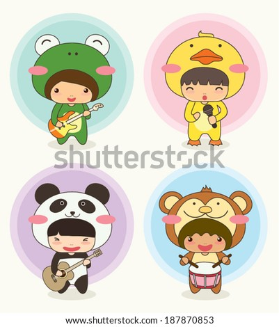 Music Band, Cute Character with Animal Costume : Frog, Duck, Panda and Monkey - stock vector