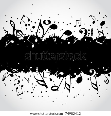 Music  black blot - stock vector