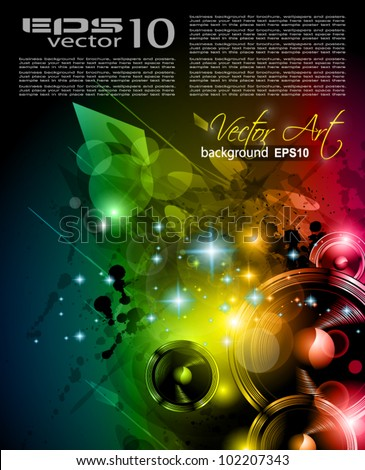 Music Club background for disco dance international event with a lot of design elements. Ideal for posters, flyers and advertising panels. - stock vector