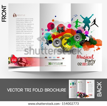 Music Club Party Tri-Fold Mock up & Brochure Design - stock vector