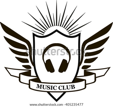 MUSIC CLUB, vintage emblems in black and white, logo with head phones vector  - stock vector
