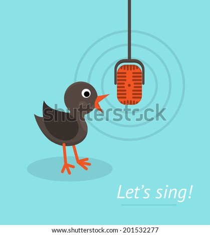 Music concept with microphone and singing bird. Banner for karaoke, parties, music lessons and etc. Flat design style. - stock vector