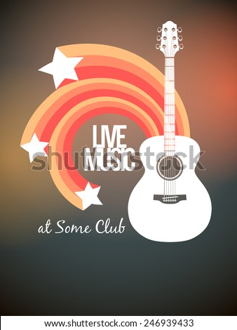 Music concert flyer or poster template featuring acoustic guitar and stars. - stock vector