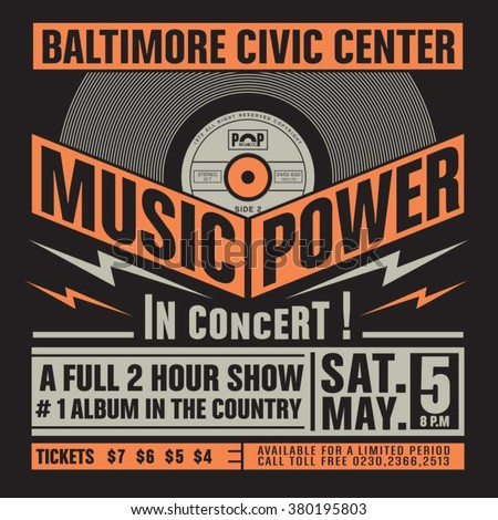 Music concert typography, t-shirt graphics, vectors - stock vector