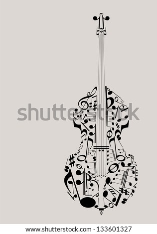 Music, contrabass concept made with musical symbols for poster design - stock vector