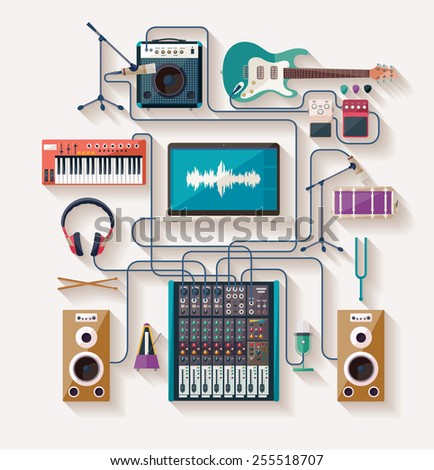 Music creation. Flat design. - stock vector