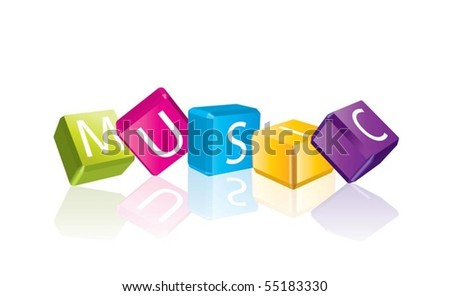 Music (cube letters in editable vector format) - stock vector