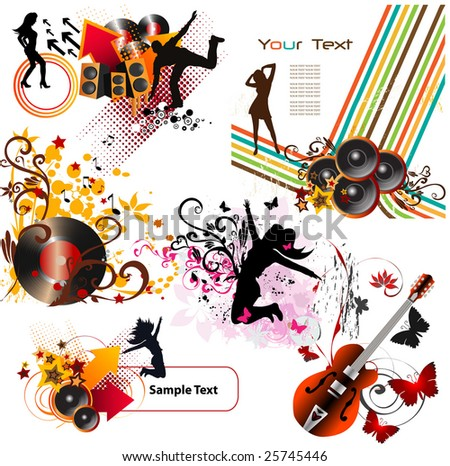 Music design elements - stock vector