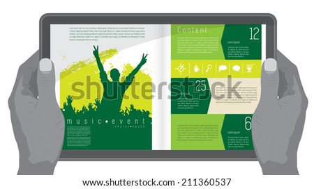Music design layout for presentation or e-book  - stock vector