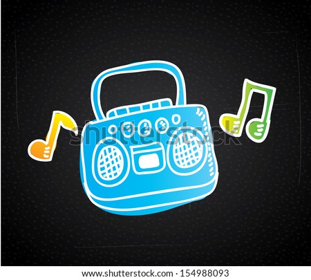 music design over black background vector illustration - stock vector
