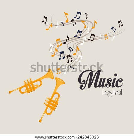 Music design over gray background, vector illustration. - stock vector