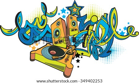 Music design - turntable & graffiti arrows - stock vector