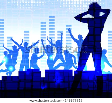 Music dj, night party background  - stock vector