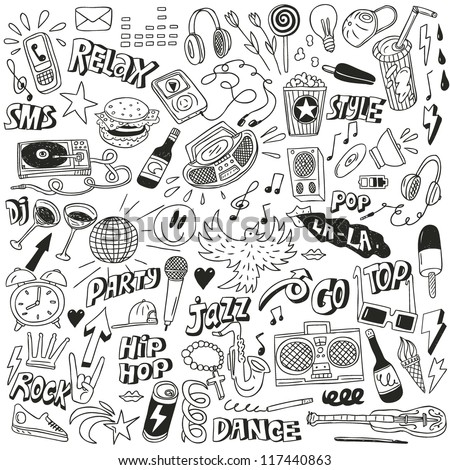 Music - doodles collection - stock vector