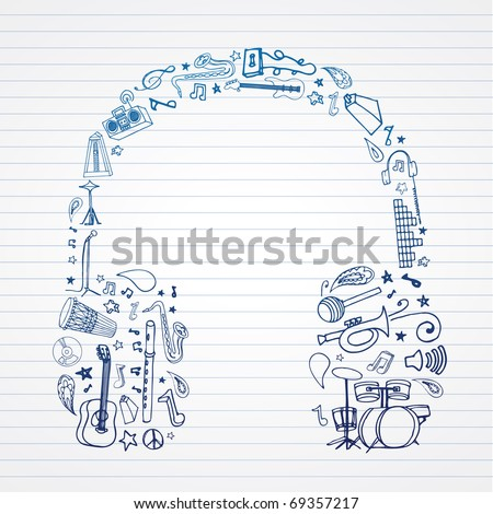 Music doodles in headphones shape. - stock vector