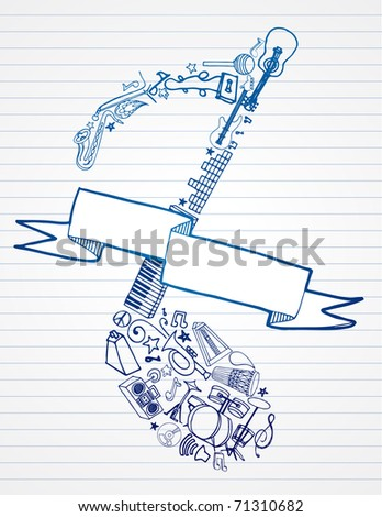 Music doodles in shape of note with blank banner. - stock vector