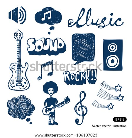 Music elements set. Hand drawn sketch illustration isolated on white background - stock vector