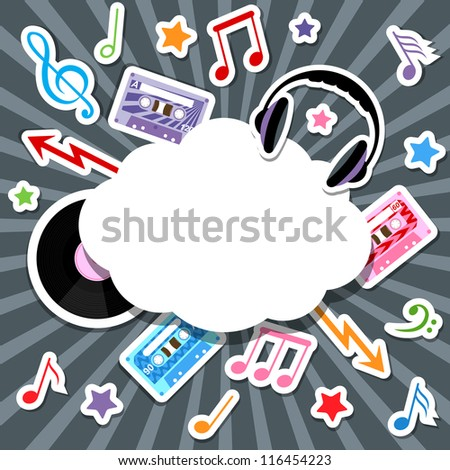 music elements with speech bubble - stock vector