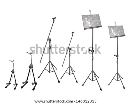 Music Equipment, An Illustration Collection of Music stand with Sheet Music, Microphone Stand and Guitar Isolated on White Background  - stock vector