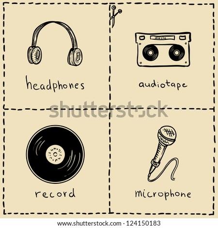 music equipment doodles set - stock vector